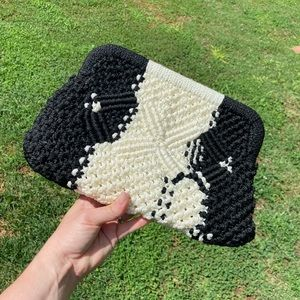 Vintage woven ivory and black clutch bag